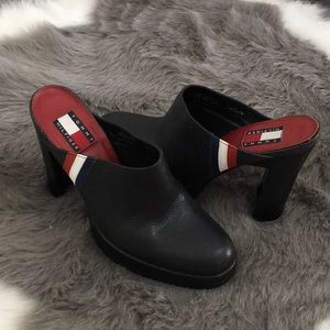 90s Tommy Hilfiger Black Leather Heeled Mules